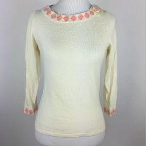 Anthropologie Monogram Ivory Diamond Sweater